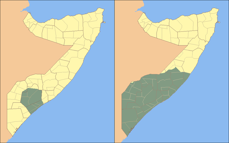 Map showing territorial gains made by al-Shabaab since January 31, 2009, when the civil war with Sharif Ahmed started.